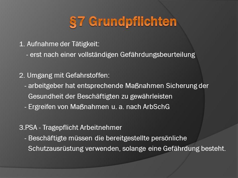§7 Grundpflichten 1. Aufnahme der Tätigkeit: