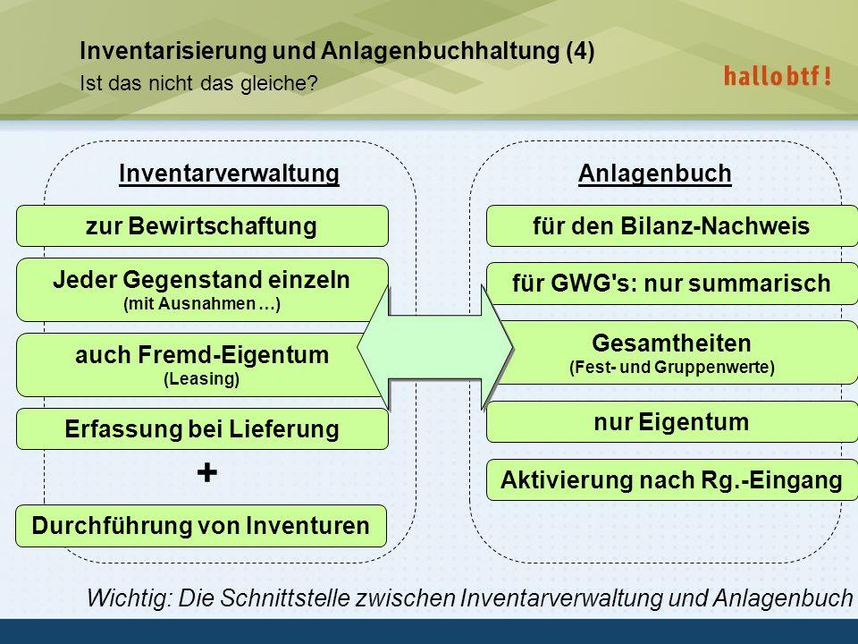 + Inventarisierung und Anlagenbuchhaltung (4) Inventarverwaltung