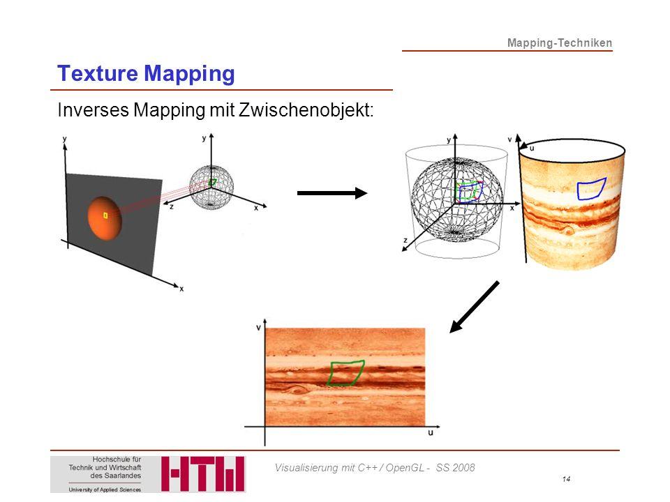 Texture Mapping Inverses Mapping mit Zwischenobjekt: