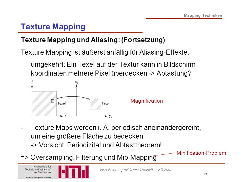 Texture Mapping Texture Mapping und Aliasing: (Fortsetzung)