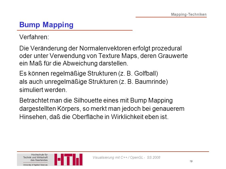 Bump Mapping Verfahren: