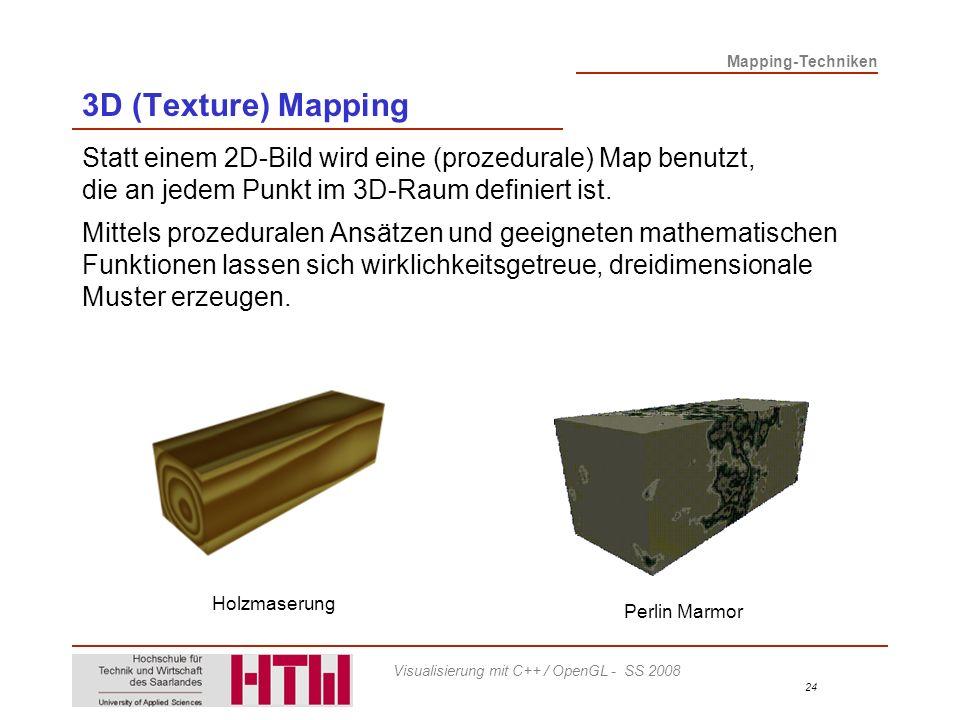 3D (Texture) Mapping Statt einem 2D-Bild wird eine (prozedurale) Map benutzt, die an jedem Punkt im 3D-Raum definiert ist.