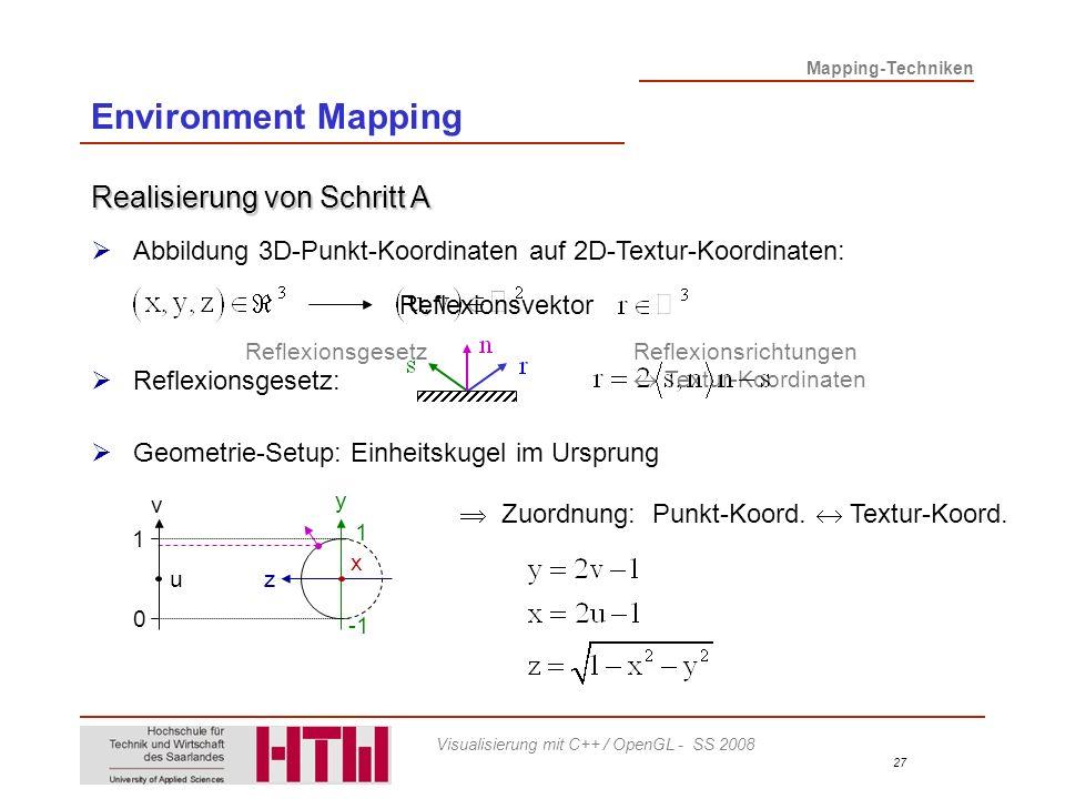 Environment Mapping Realisierung von Schritt A