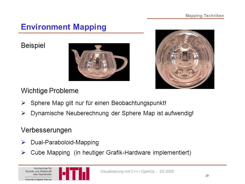 Environment Mapping Beispiel Wichtige Probleme Verbesserungen