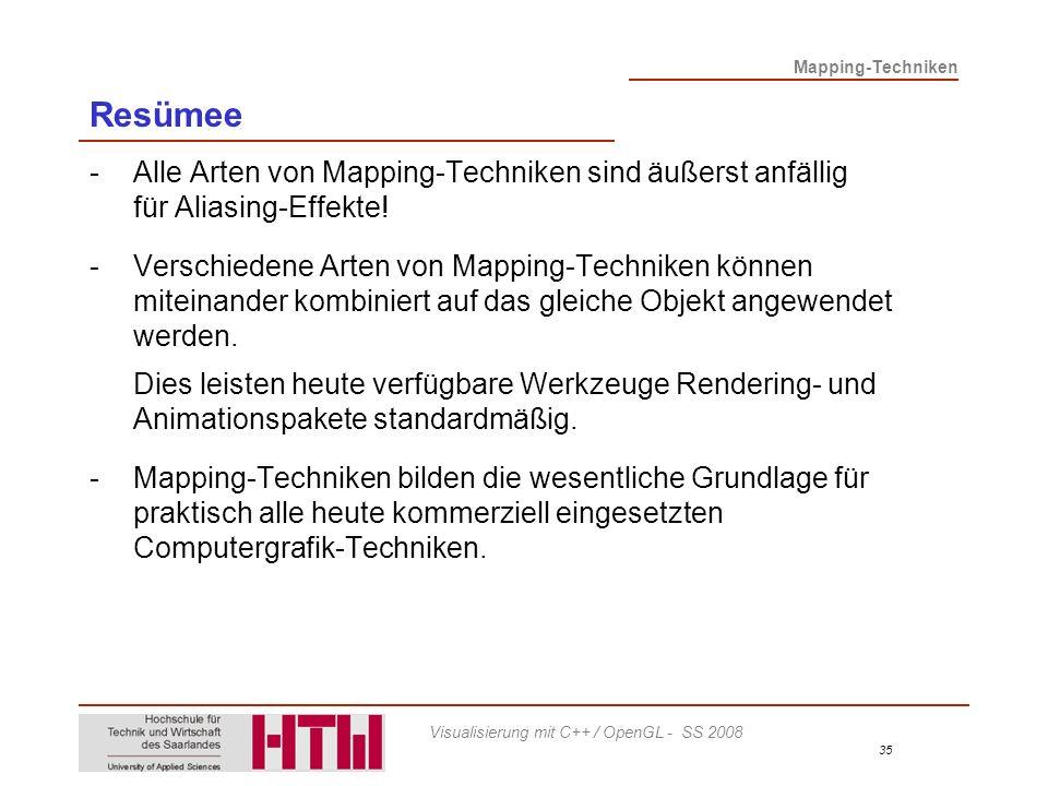 Resümee - Alle Arten von Mapping-Techniken sind äußerst anfällig für Aliasing-Effekte!