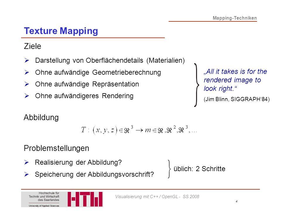 Texture Mapping Ziele Abbildung Problemstellungen
