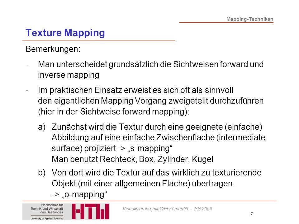 Texture Mapping Bemerkungen: