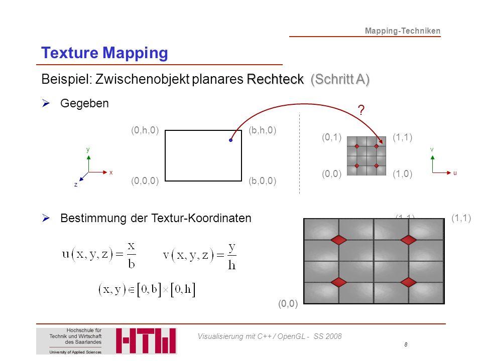 Texture Mapping Beispiel: Zwischenobjekt planares Rechteck (Schritt A)