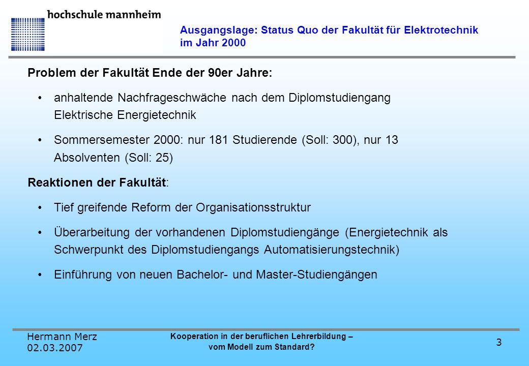 Ausgangslage: Status Quo der Fakultät für Elektrotechnik im Jahr 2000
