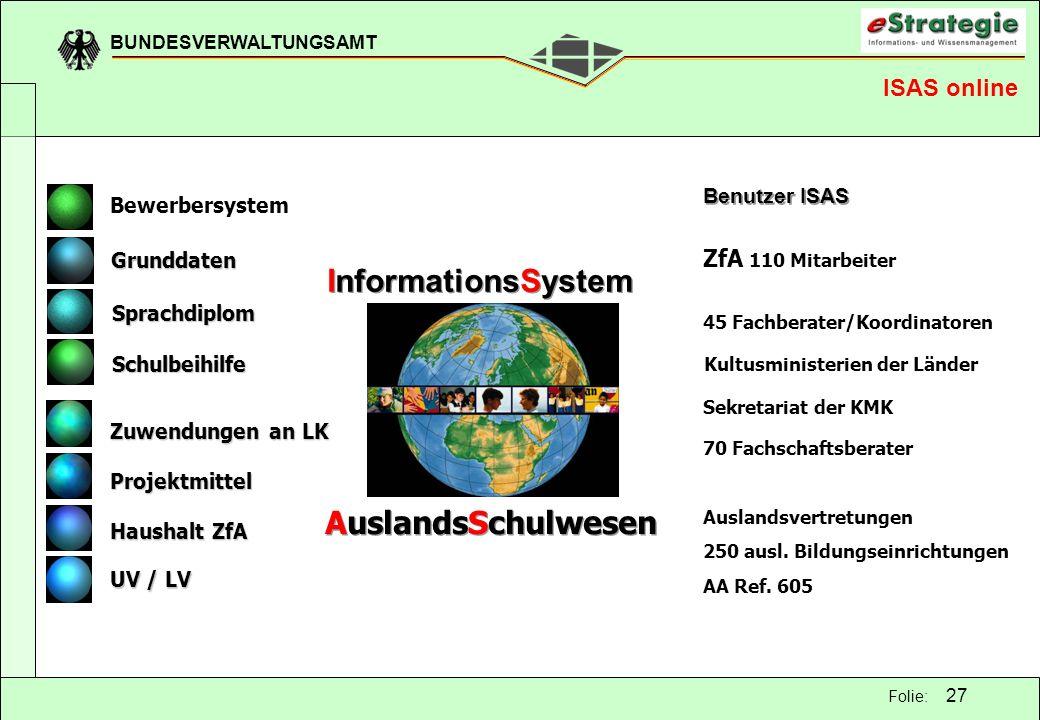 InformationsSystem AuslandsSchulwesen ISAS online ZfA 110 Mitarbeiter