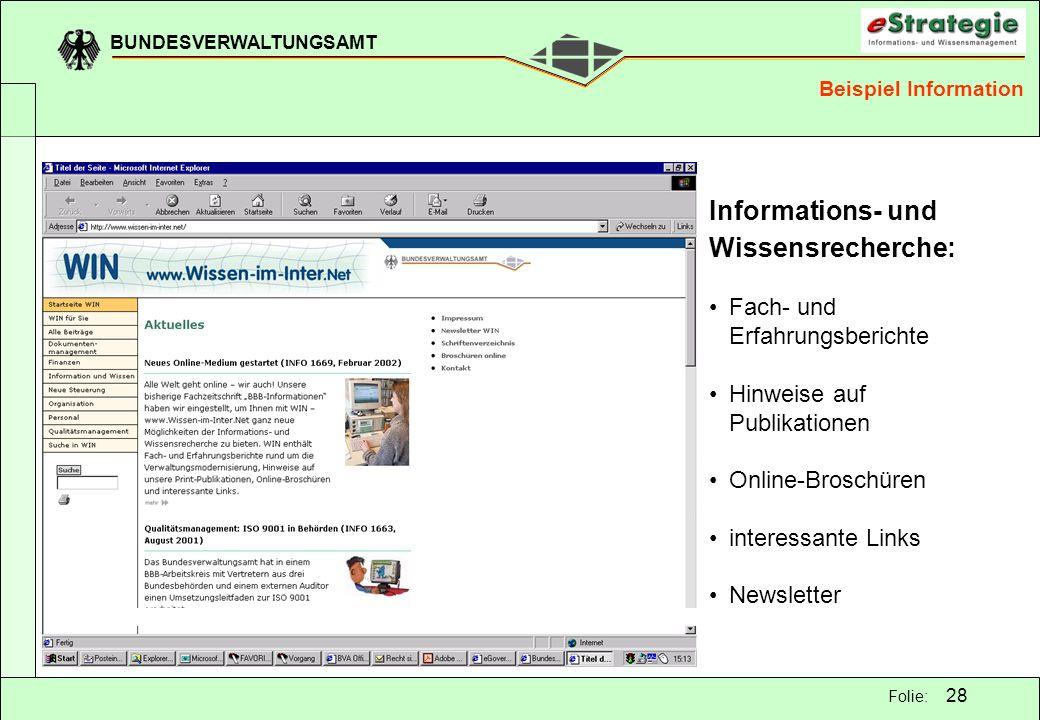 Informations- und Wissensrecherche: Fach- und Erfahrungsberichte