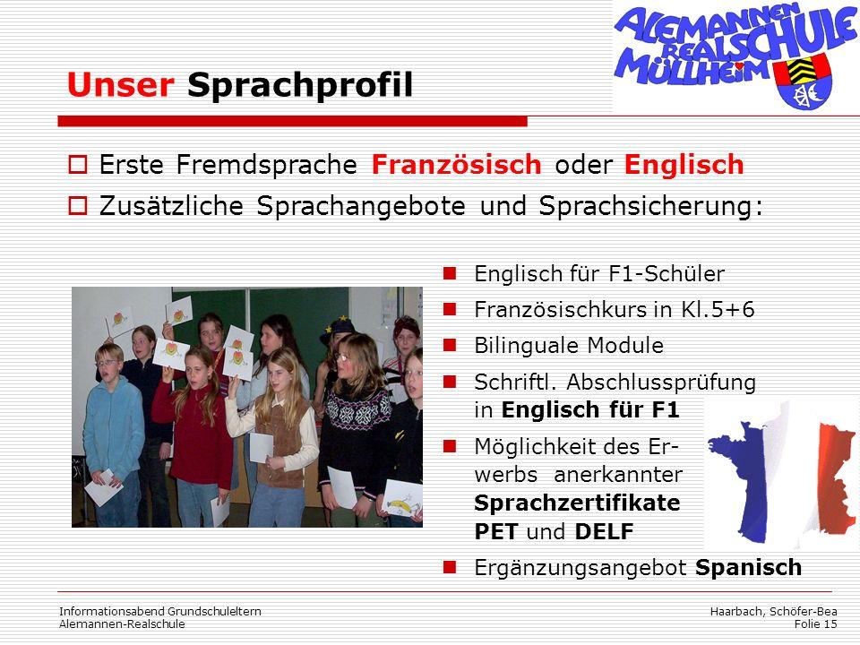 Unser Sprachprofil Erste Fremdsprache Französisch oder Englisch