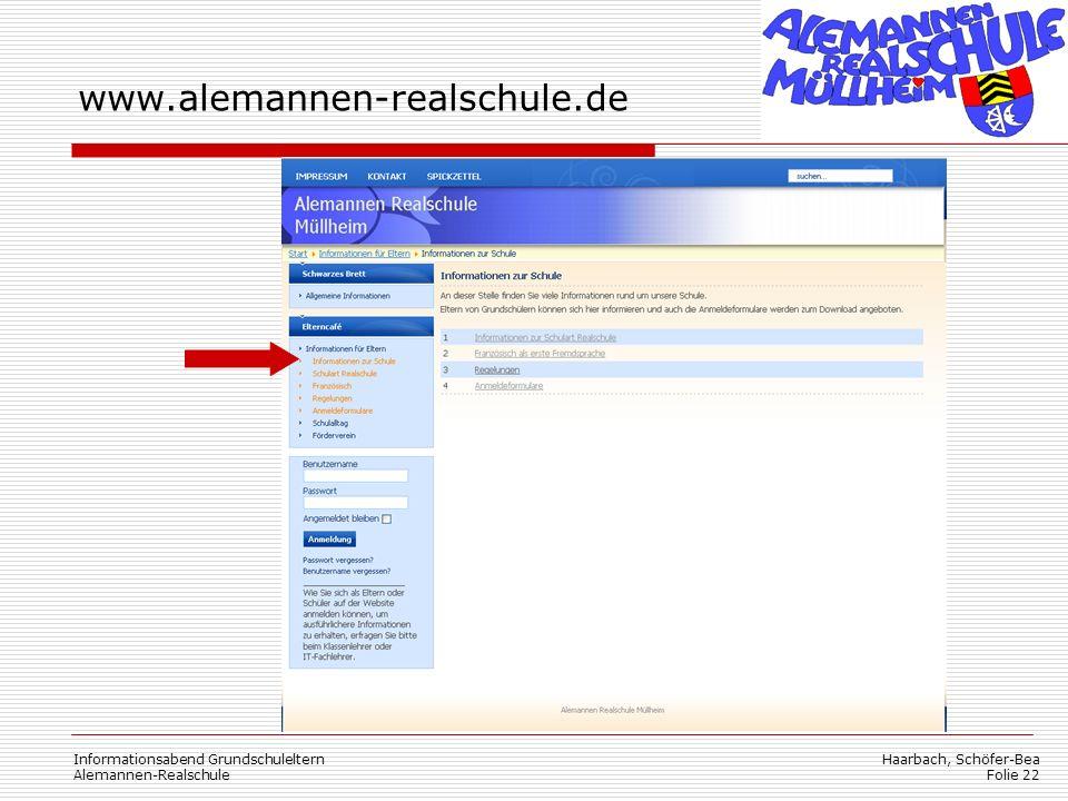 www.alemannen-realschule.de Informationsabend Grundschuleltern
