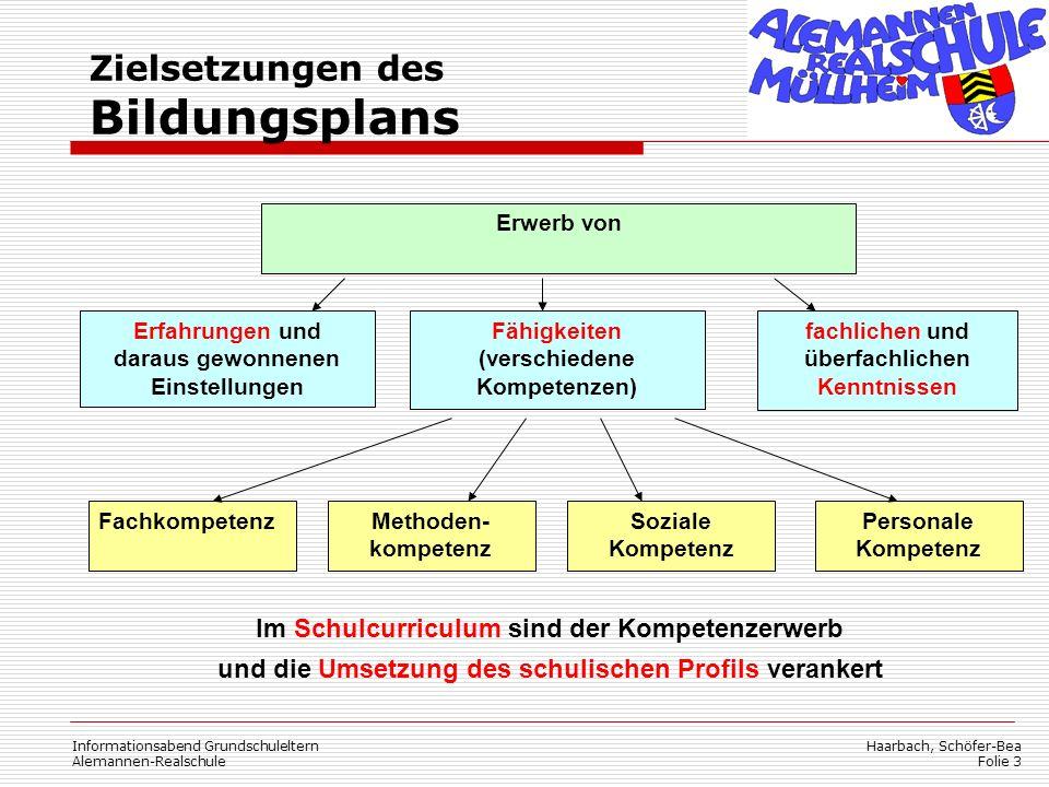 Zielsetzungen des Bildungsplans