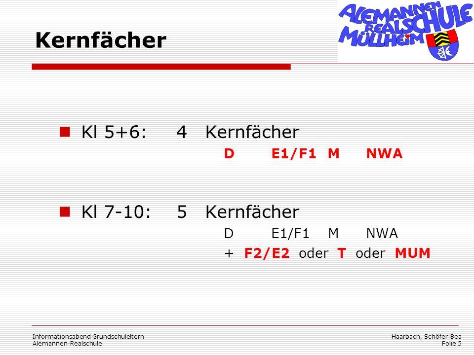 Kernfächer Kl 5+6: 4 Kernfächer Kl 7-10: 5 Kernfächer D E1/F1 M NWA