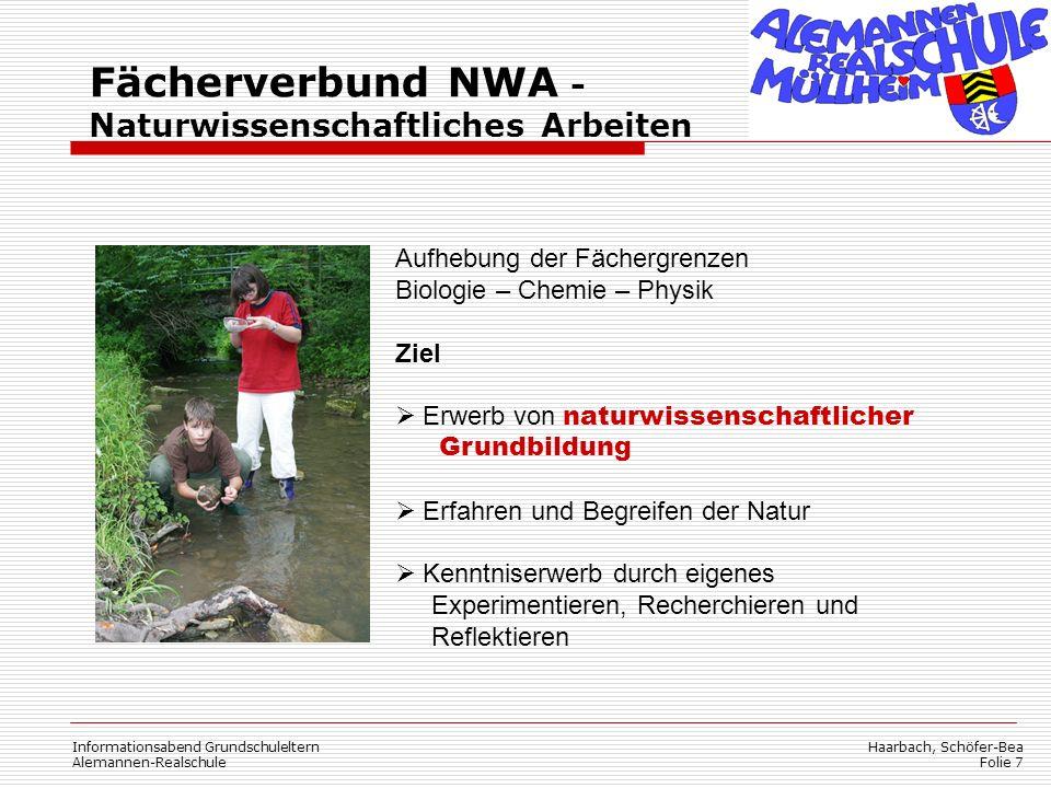 Fächerverbund NWA - Naturwissenschaftliches Arbeiten