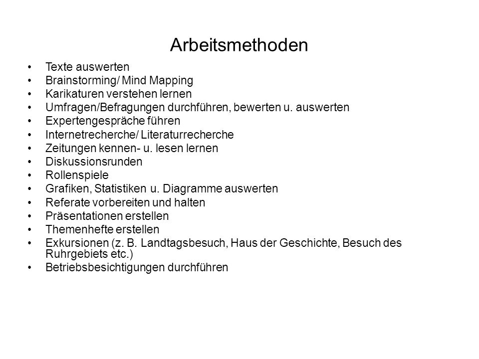 Arbeitsmethoden Texte auswerten Brainstorming/ Mind Mapping