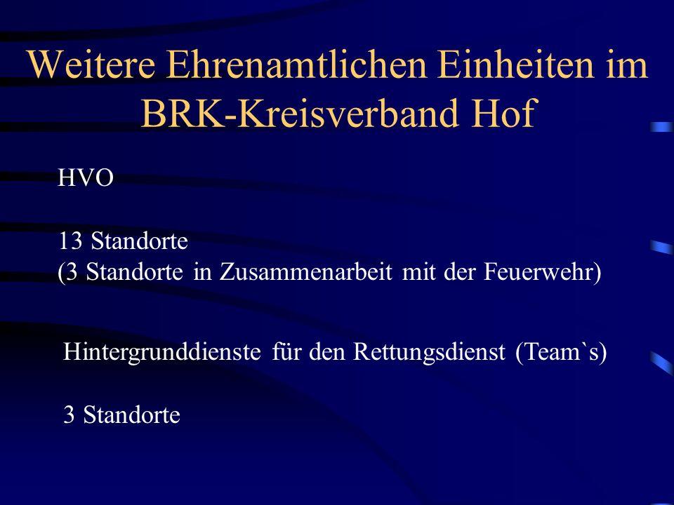 Weitere Ehrenamtlichen Einheiten im BRK-Kreisverband Hof
