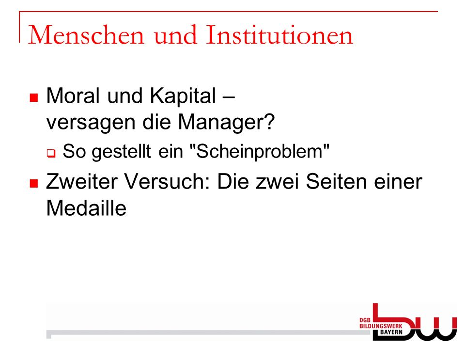 Menschen und Institutionen