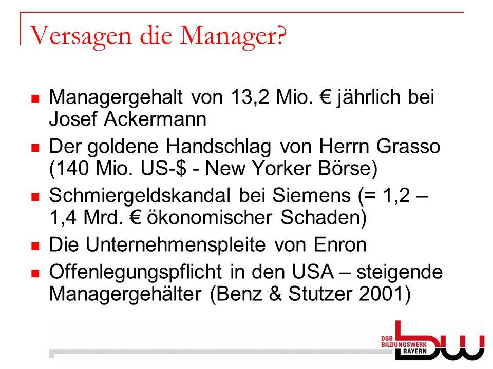 Versagen die Manager Managergehalt von 13,2 Mio. € jährlich bei Josef Ackermann.