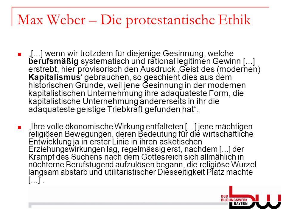 Max Weber – Die protestantische Ethik