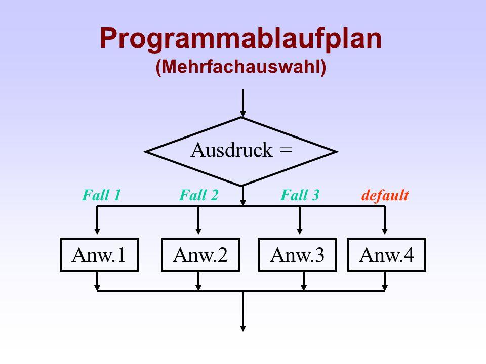 Programmablaufplan (Mehrfachauswahl)