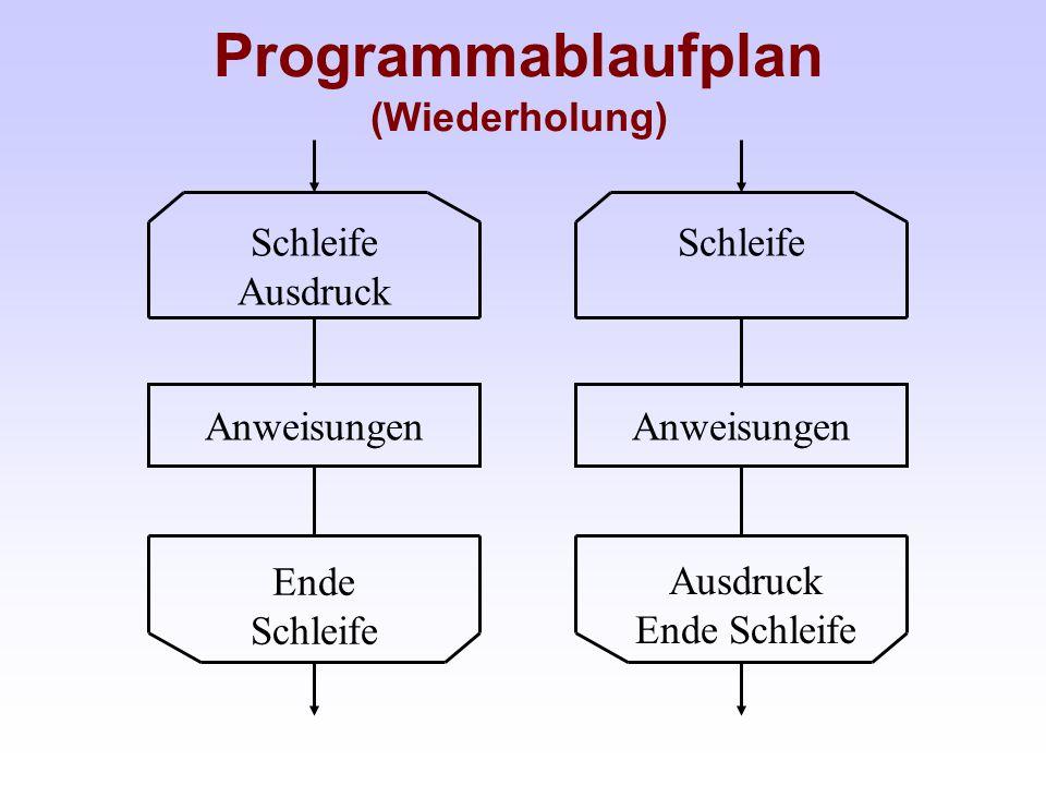 Programmablaufplan (Wiederholung)