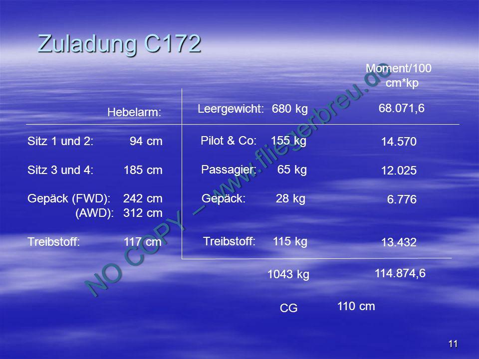 Zuladung C172 Moment/100 cm*kp Leergewicht: 680 kg 68.071,6 Hebelarm: