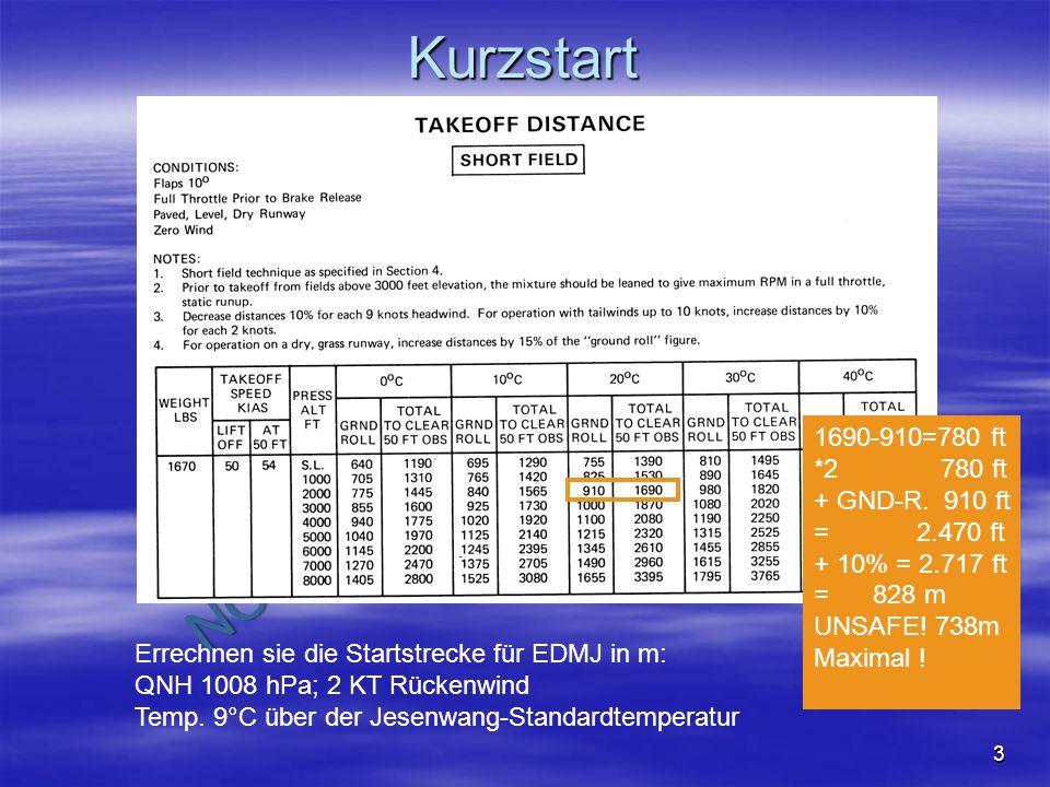 Kurzstart 1690-910=780 ft *2 780 ft + GND-R. 910 ft = 2.470 ft