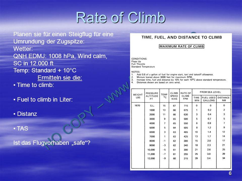 Rate of Climb Planen sie für einen Steigflug für eine Umrundung der Zugspitze: Wetter: QNH EDMJ: 1008 hPa, Wind calm,