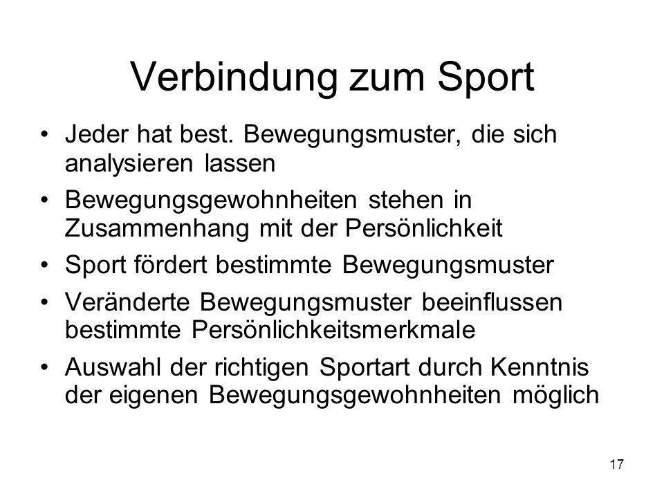 Verbindung zum Sport Jeder hat best. Bewegungsmuster, die sich analysieren lassen.