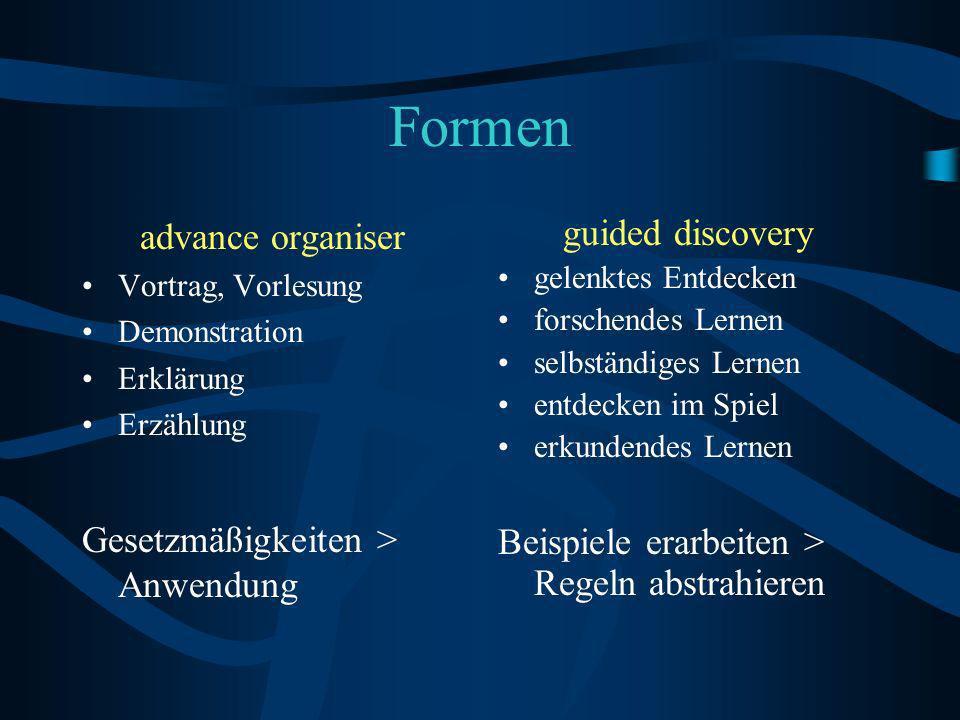 Formen advance organiser Gesetzmäßigkeiten > Anwendung