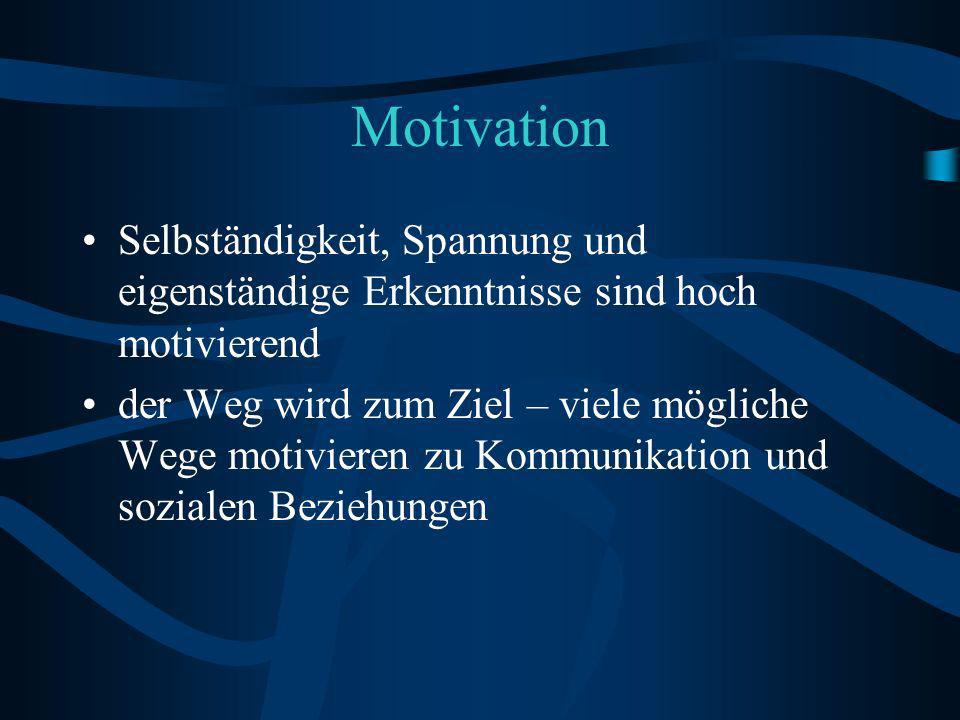 Motivation Selbständigkeit, Spannung und eigenständige Erkenntnisse sind hoch motivierend.