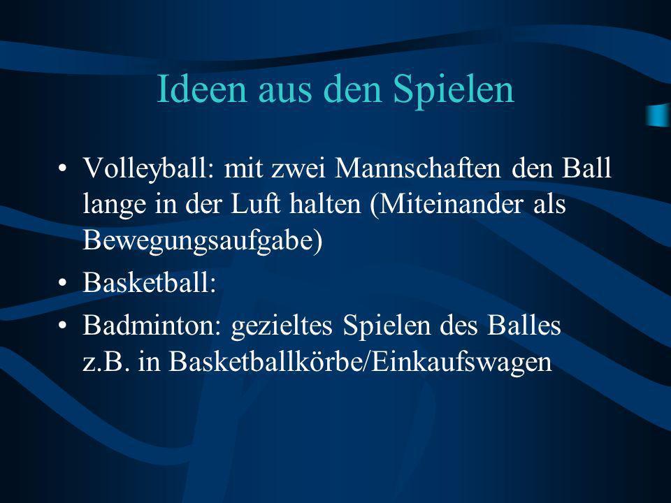 Ideen aus den Spielen Volleyball: mit zwei Mannschaften den Ball lange in der Luft halten (Miteinander als Bewegungsaufgabe)