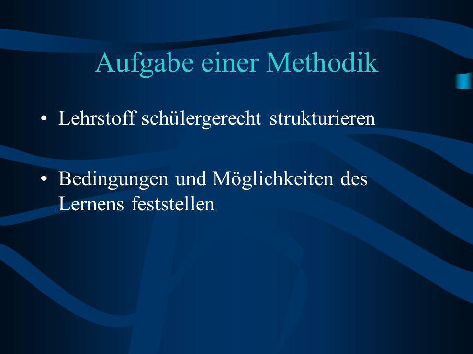 Aufgabe einer Methodik