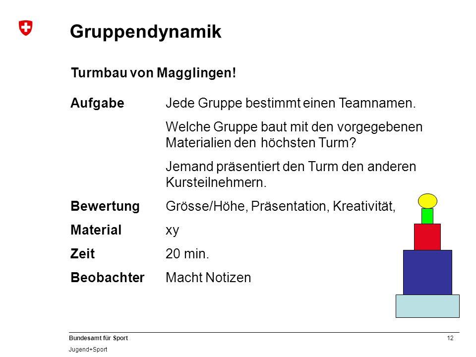 Gruppendynamik Turmbau von Magglingen!