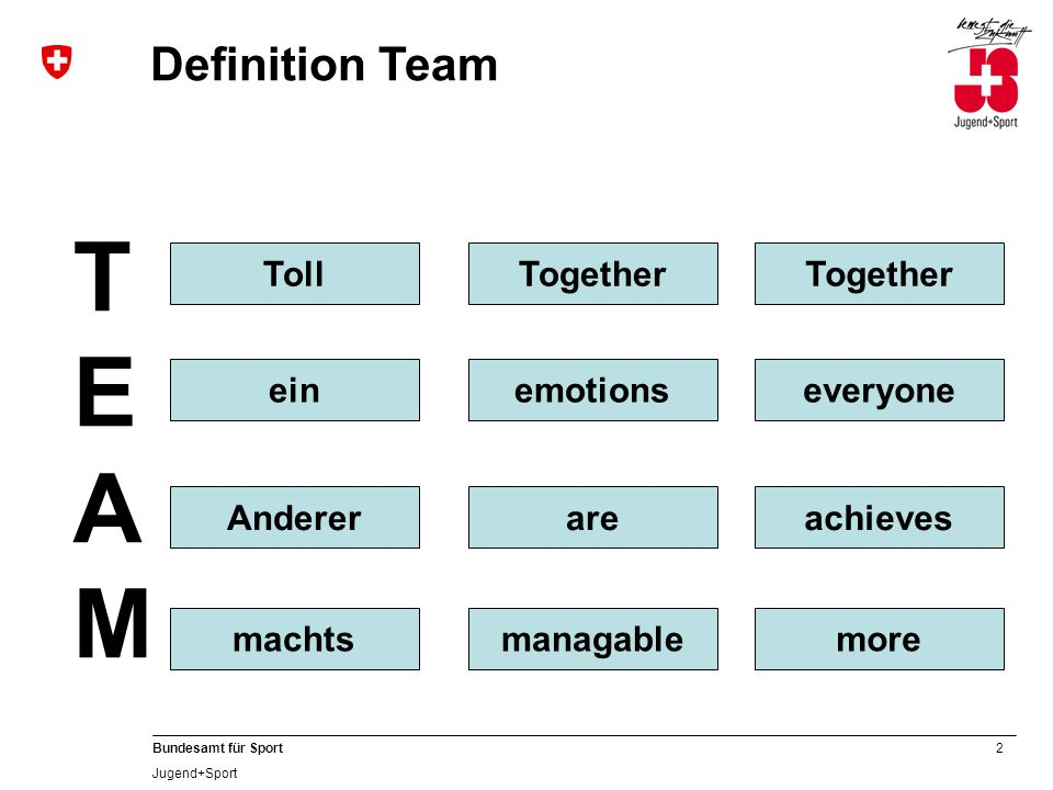 TEAM Definition Team Toll Together Together ein emotions everyone