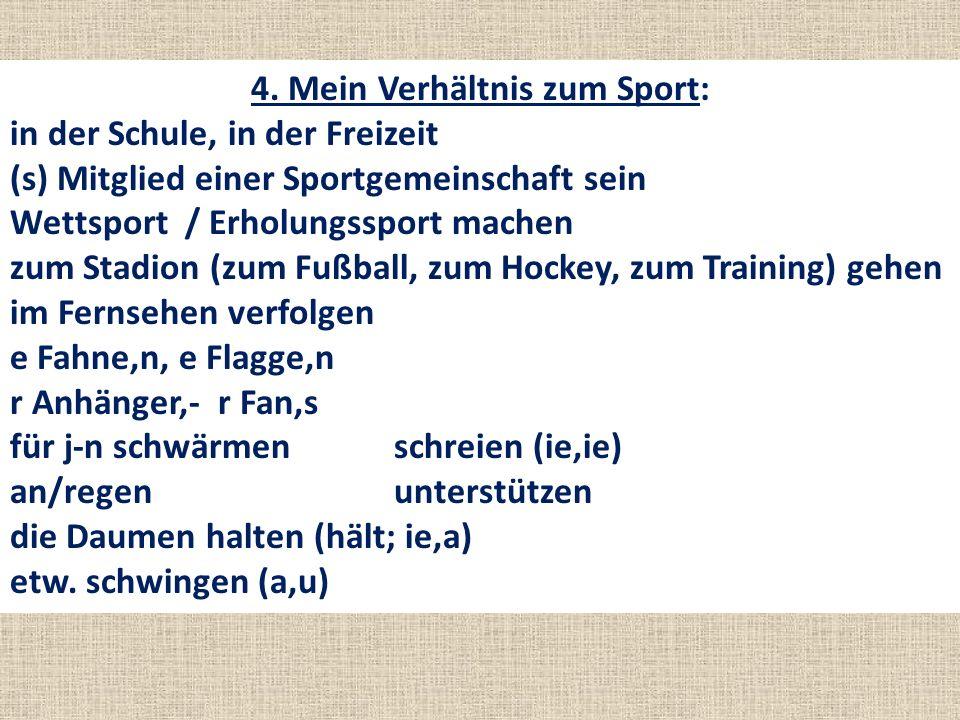 4. Mein Verhältnis zum Sport: