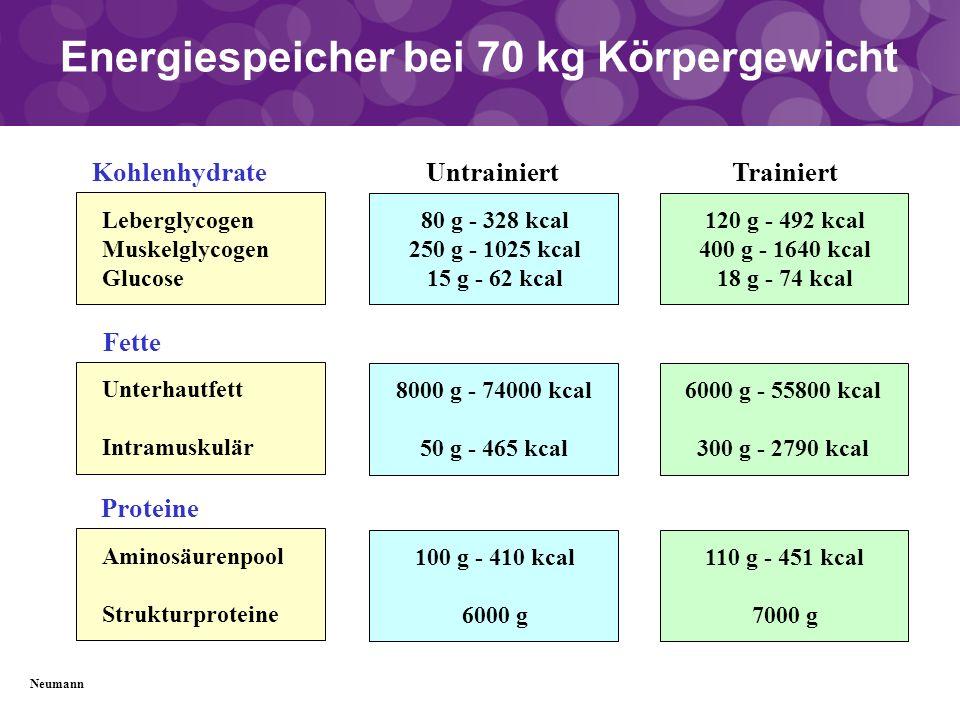Energiespeicher bei 70 kg Körpergewicht