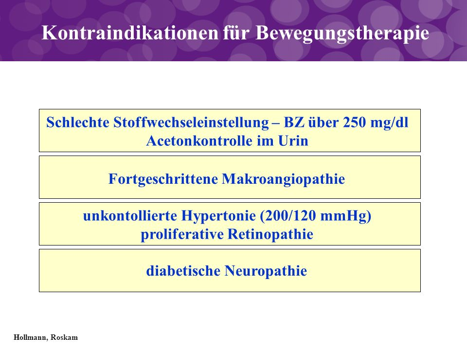 Kontraindikationen für Bewegungstherapie