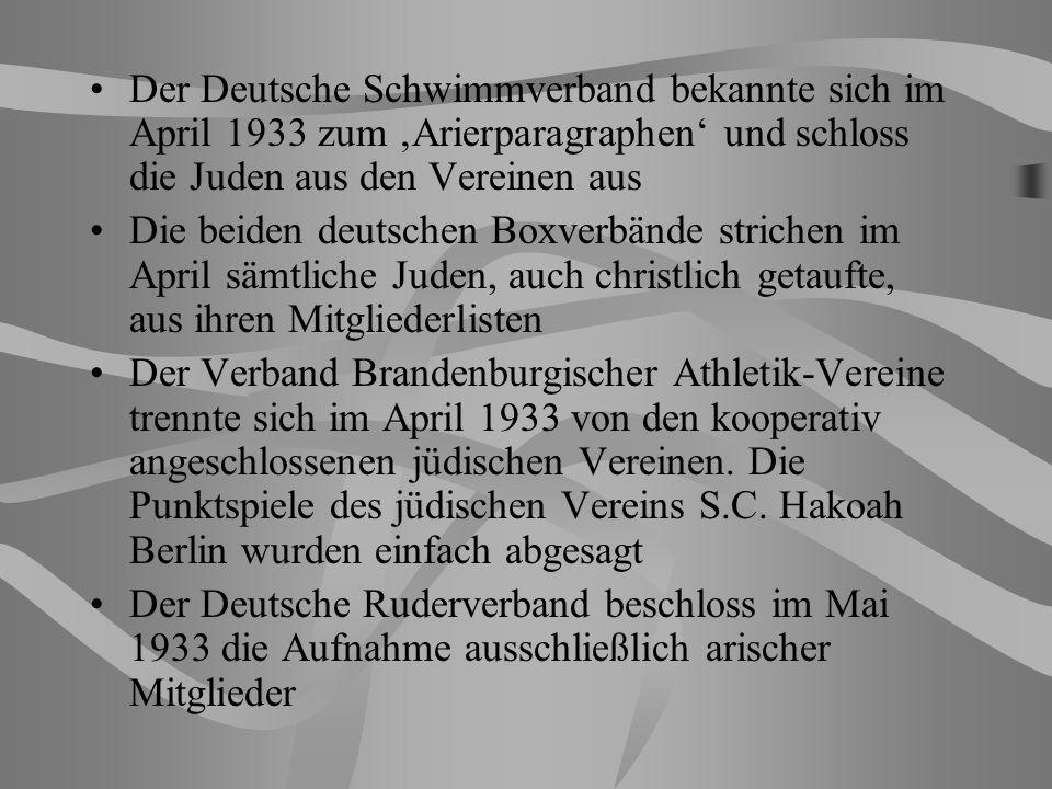 Der Deutsche Schwimmverband bekannte sich im April 1933 zum 'Arierparagraphen' und schloss die Juden aus den Vereinen aus