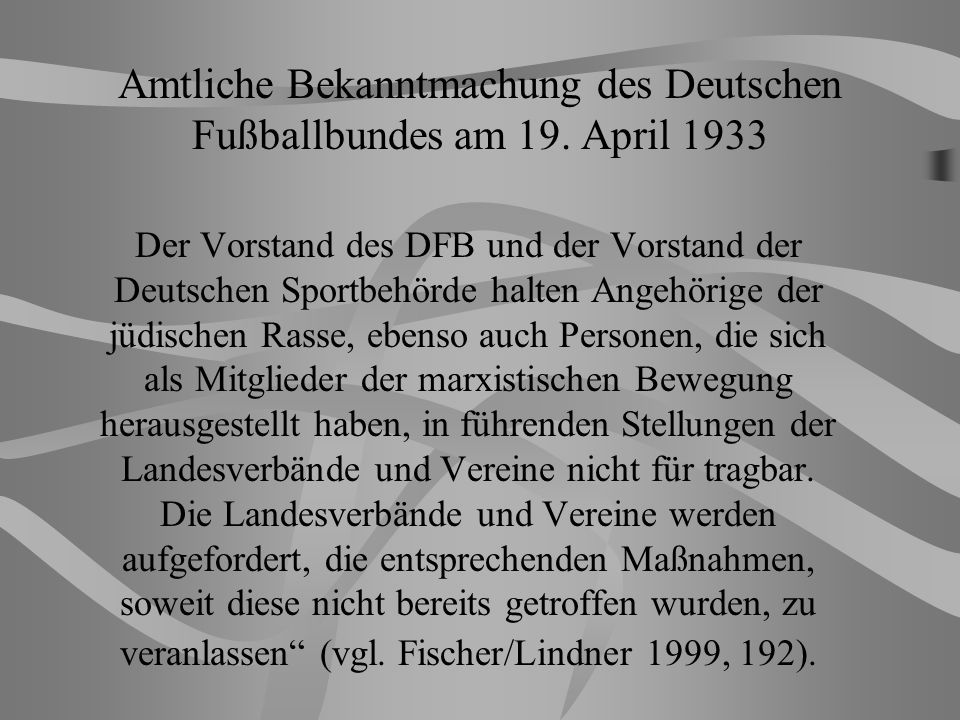 Amtliche Bekanntmachung des Deutschen Fußballbundes am 19. April 1933