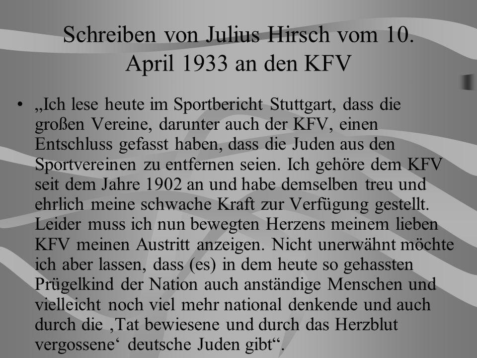 Schreiben von Julius Hirsch vom 10. April 1933 an den KFV