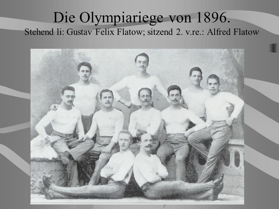 Die Olympiariege von 1896. Stehend li: Gustav Felix Flatow; sitzend 2