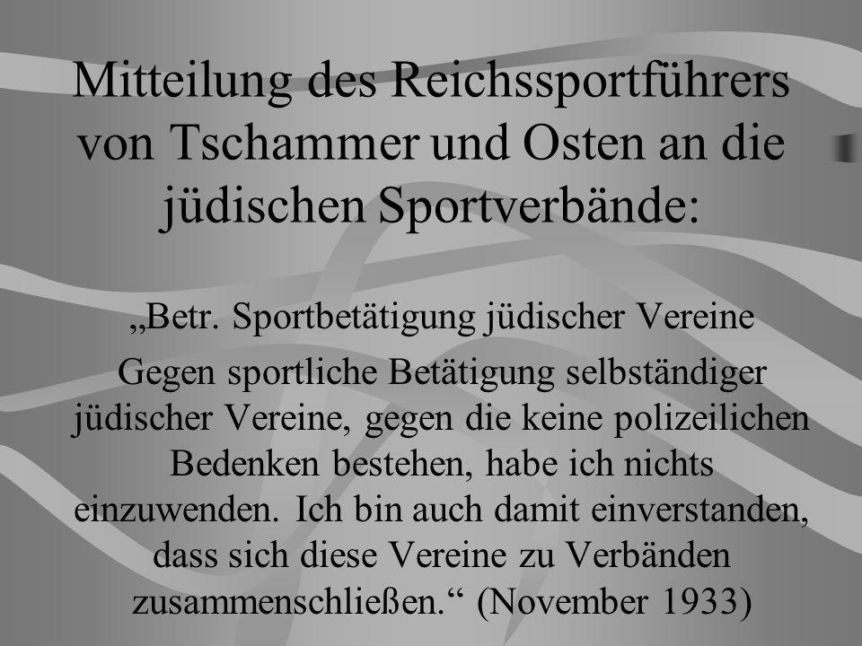 """""""Betr. Sportbetätigung jüdischer Vereine"""