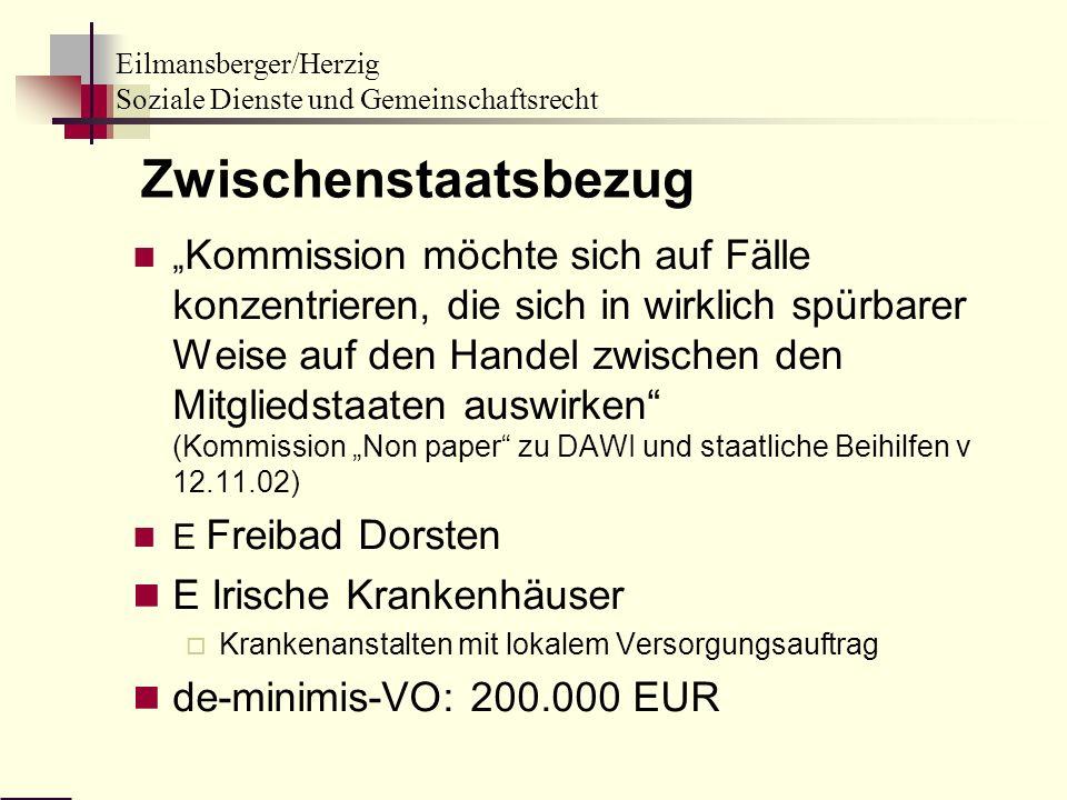 Zwischenstaatsbezug E Irische Krankenhäuser de-minimis-VO: 200.000 EUR