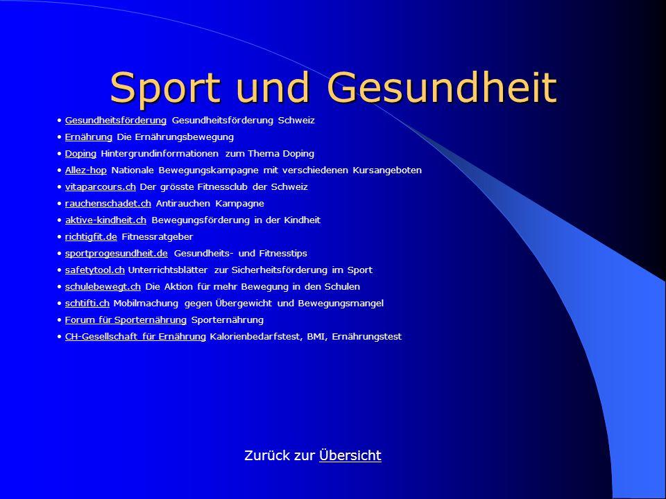 Sport und Gesundheit Zurück zur Übersicht