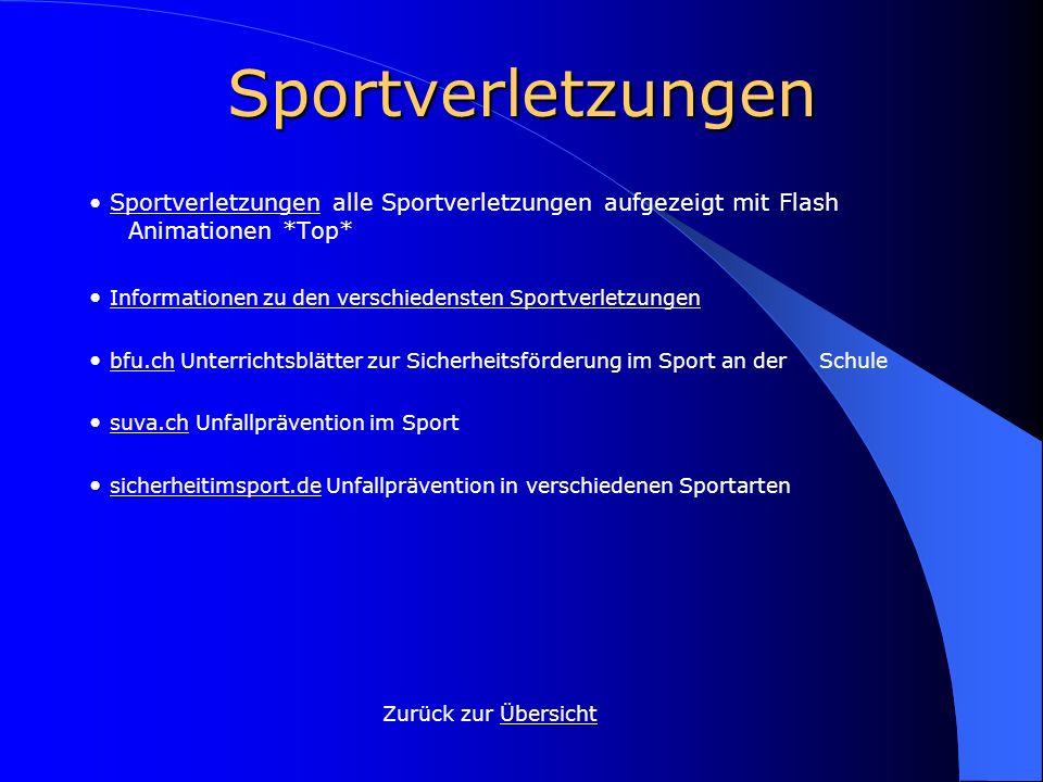 Sportverletzungen • Sportverletzungen alle Sportverletzungen aufgezeigt mit Flash Animationen *Top*