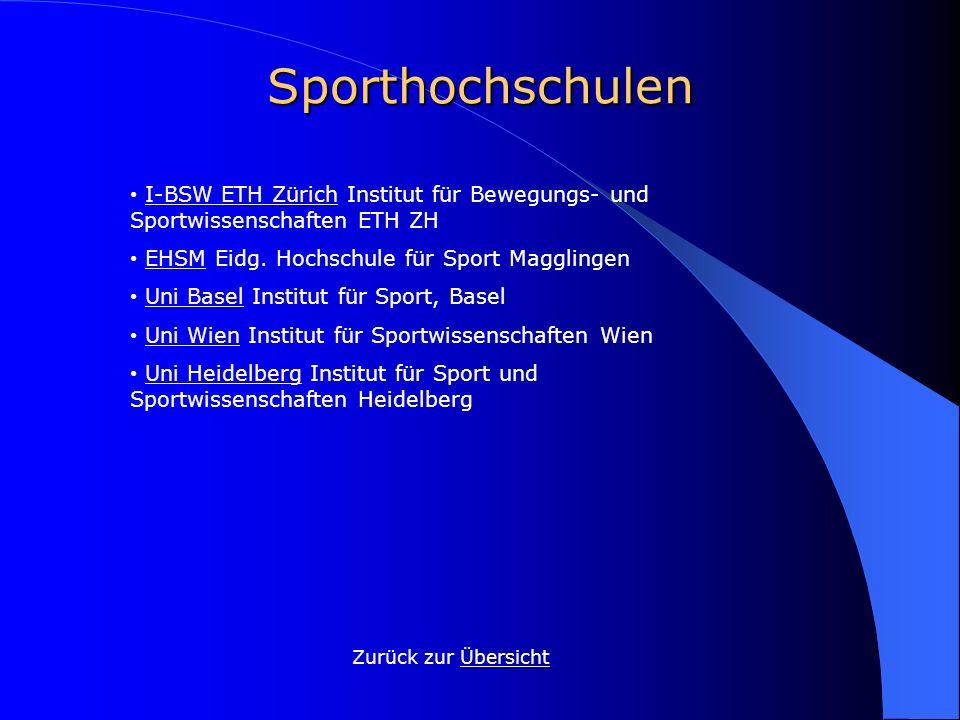 Sporthochschulen • I-BSW ETH Zürich Institut für Bewegungs- und Sportwissenschaften ETH ZH. • EHSM Eidg. Hochschule für Sport Magglingen.