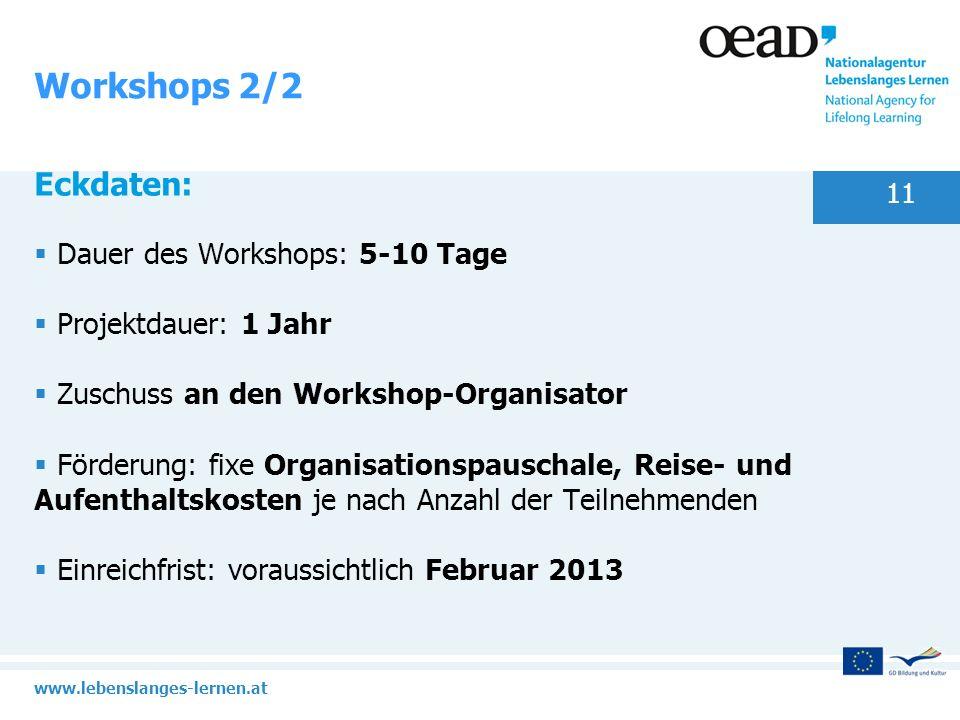 Workshops 2/2 Eckdaten: Dauer des Workshops: 5-10 Tage